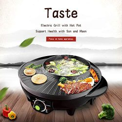 LIVEN Electric Grill with Hot Pot, Non-stick coating surface, Hot Pot with Glass Lid,1300W 120V  ...