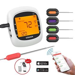 Wireless Meat Thermometer for Grilling, Bluetooth Meat Thermometer Digital BBQ Cooking Thermomet ...
