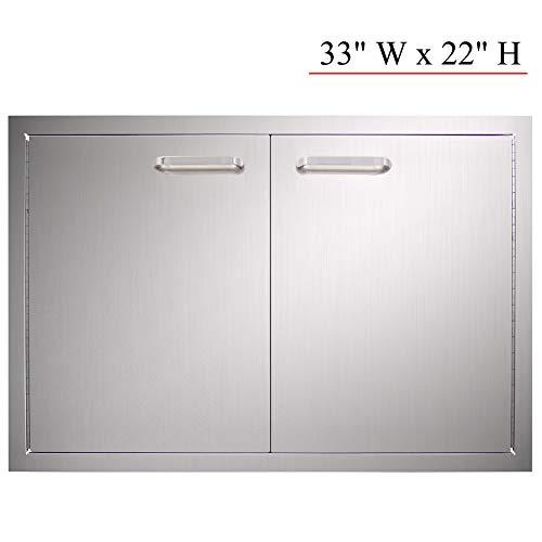 YXHARD Outdoor Kitchen Door, 304 Stainless Steel 33″ Wx 22″ H Double BBQ Access Door ...