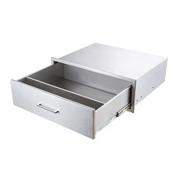 yuxiangBBQ Outdoor Kitchen Drawers Stainless Steel,30″ W x 10″ H Single Drawer w/Div ...
