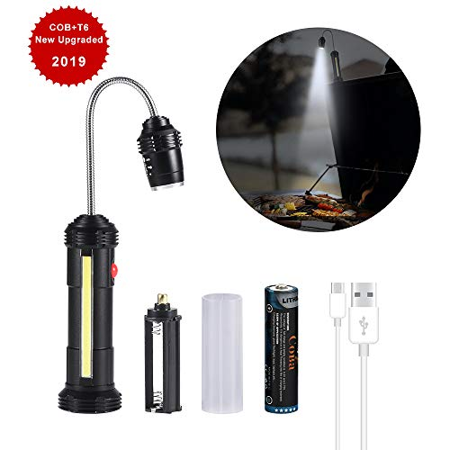 BBQ Lights, Grill Light Rechargeable with Magnetic Base&Flexible Gooseneck, COBA COB LED Wor ...
