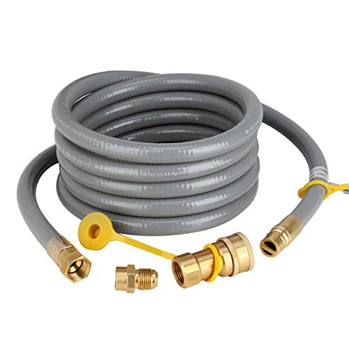 Natural Gas Hose, 12Ft 1/2 inch ID Gas Line with Quick Connect/Disconnect Fittings & 3/8 Fem ...