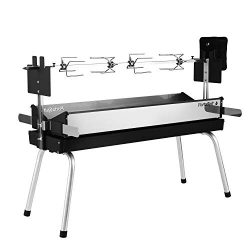 BBQ Creations B-007 PortaSpit Portable Spit Rotisserie/BBQ Charcoal Grill (Large Version)