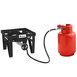 ROVSUN Outdoor Propane Burner for Cooking, 200,000BTU Gas Cooker with Stand for Camping & Ho ...