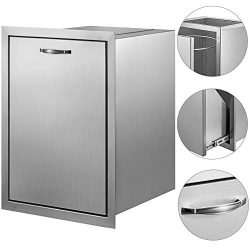Mophorn Outdoor Kitchen Trash Drawer 19.7×26.5 Inch with Trash Bag Ring Stainless Steel Tra ...