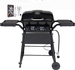 BACKYARD MASTERS Expert Grill 3 Burner 30,000 BTU Gas Grill with Side Shelves, Black with SS Hea ...