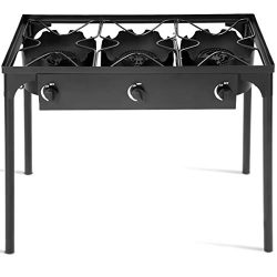 GYMAX Outdoor Stove, 3-Burner High Pressure Propane Gas Camp Stove with Detachable Legs, Perfect ...