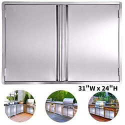 CIOGO BBQ Access Door 31×24 Inch Double Wall Outdoor Kitchen Door, 304 All Brushed Stainles ...