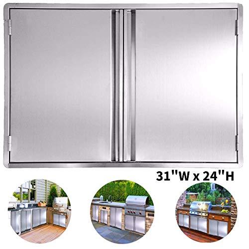 CIOGO BBQ Access Door 31×24 Inch Double Wall Outdoor Kitchen Door, 304 All Brushed Stainles ...