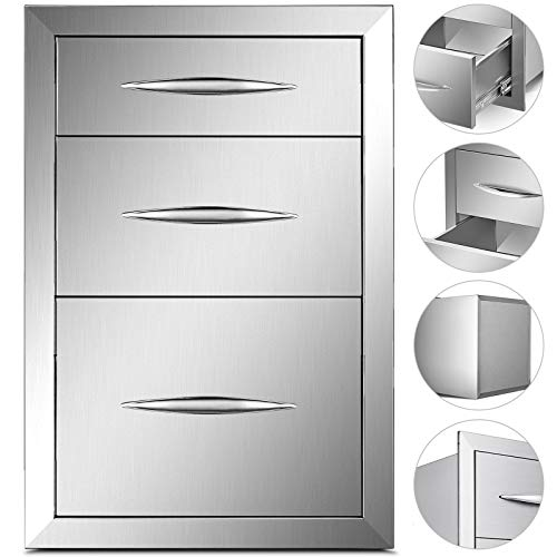 Mophorn Outdoor Kitchen Drawers Stainless Steel 14.8×21 Inch Triple Drawers with Chrome Han ...