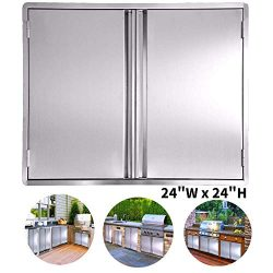 CIOGO BBQ Access Door 24×24 Inch Double Wall Outdoor Kitchen Door, 304 All Brushed Stainles ...