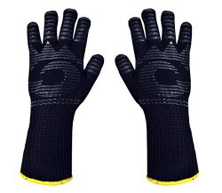 Heat Resistant Gloves – 1472 ℉ Grilling Gloves For Fireplace – Barbeque Accessories  ...