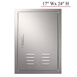 YXHARD Outdoor Kitchen Door, 304 Brushed Stainless Steel 17 x 24 Inches Single BBQ Access Door w ...