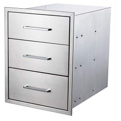 yuxiangBBQ Outdoor Kitchen Drawers Stainless Steel,18″ W x 23″ H Triple Drawers,Flus ...