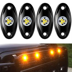 Aukmak 4 Pods LED Rock Light Kit for Jeep ATV SUV Offroad Car Truck Boat Underbody Glow Trail Ri ...