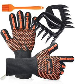 EUHOME 3 in 1 Grilling Set Accessories with EN407 Certified 1472 Extremely Heat Resistant Gloves ...