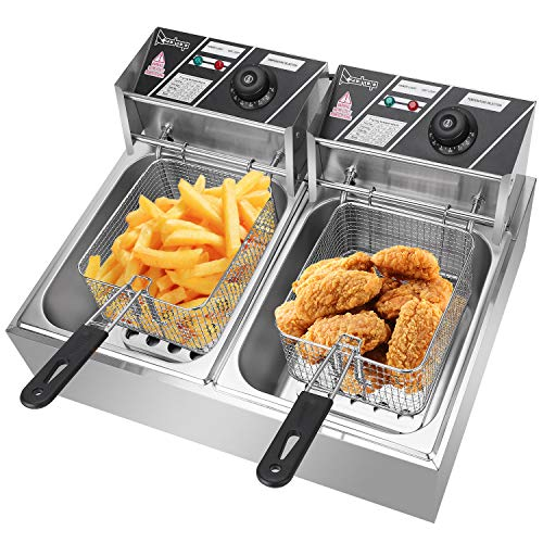 ZOKOP Electric Fryer,12L Commercial Electric Countertop Stainless Steel Deep Fryer Basket French ...