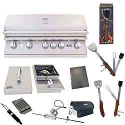 Lion Premium Grills 40-Inch Natural Gas Grill L90000 with Single Side Burner and 5 in 1 BBQ Tool ...