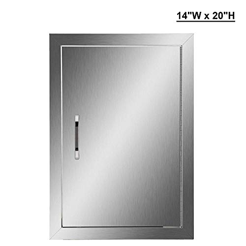 HaoFst Outdoor Kitchen Doors, 304 Stainless Steel Single BBQ Access Door for Outdoor Summer Kitc ...