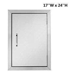 "ROVSUN Outdoor Kitchen Access Door, 17""W x 24""H Single Wall BBQ Access Door, Heavy D ..."