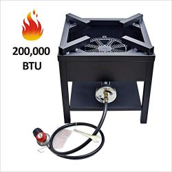 ARC USA, 200,000 BTU Outdoor High Pressure Cast Iron Propane Single Gas Cooking Camping Stove,Ad ...