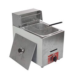 Commercial Stainless Steel Countertop Propane Gas Fryer with 10L Basket x1