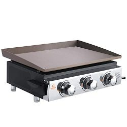 OT QOMOTOP 23-inch Tabletop Gas Grill, Outdoor Griddle with 355 Square Inches Cooking Area, 3-Bu ...