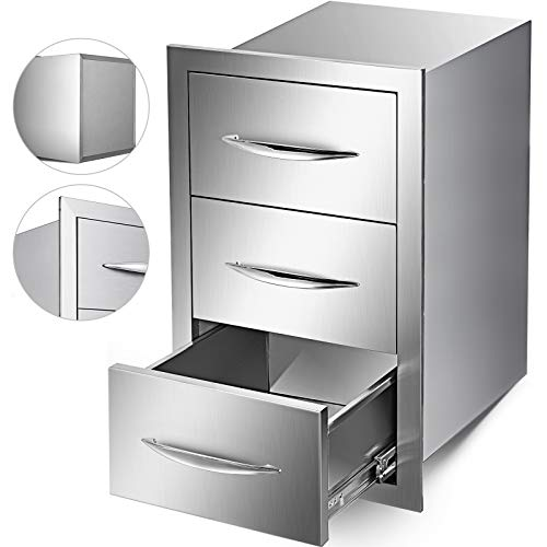 Mophorn Outdoor Kitchen Drawers Stainless Steel 15.7×21.6 Inch Triple Drawers with Chrome H ...