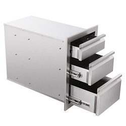 CO-Z 3 Outdoor Kitchen Drawers, 14″ x 20.25″ x 23.2″ 304 Stainless Steel Stora ...