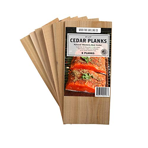 6 Pack Cedar Grilling Planks – Adds Smoky Cedar Flavor to Salmon, Chicken, Veggies and More.