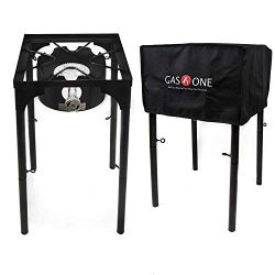 GasOne B-3000H-1+50480 Propane Burner with Cover 100,000-BTU High Pressure Stove, Black