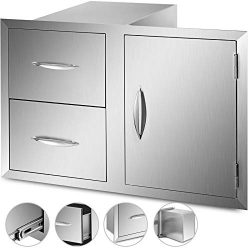 VBENLEM Outdoor Kitchen Door Drawers Combo 35.4×23.6 Inch Stainless Steel Access Door/Doubl ...