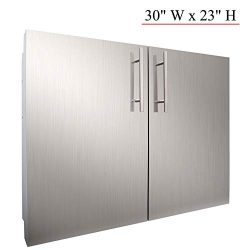 YXHARD Outdoor Kitchen Door, 304 Stainless Steel 30″ Wx 23″ H Double BBQ Access Door ...