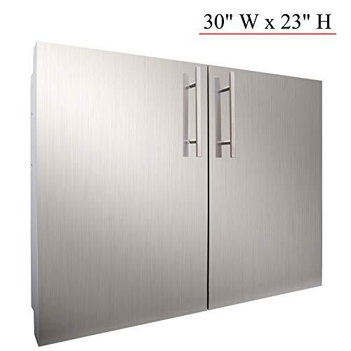 YXHARD Outdoor Kitchen Door, 304 Stainless Steel 30″ Wx 23″ H Double BBQ Access Door ...