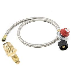 GasOne 2113+50105 4 ft Regulator and Propane Brass Orifice, Steel Braided Hose