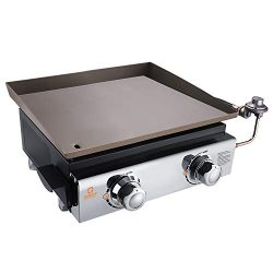 QOMOTOP Tabletop Propane Gas Griddle, 18 Inch Portable Gas Grill with 2 Burners, 17000 BTU, 282  ...