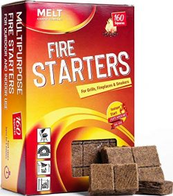 Fire Starters 160 Squares Charcoal Starter for Grills, Campfire, Fireplace, Firepits, Smokers. N ...