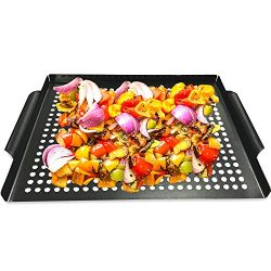 MEHE Grill Basket, Thicken Will not Warped, Nonstick Grilling Topper 14.6″x11.4 Grill Pan  ...