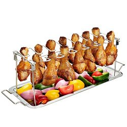 G.a HOMEFAVOR Chicken Leg Wing Rack 14 Slots Stainless Steel Metal Roaster Stand with Drip Tray  ...
