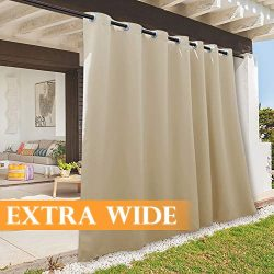 RYB HOME Patio Curtain Outdoor Waterproof Panel, Plus Wide Large Drape for Home Decor/Outside De ...