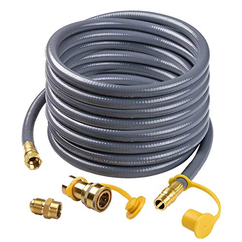 Camplux 24Ft 1/2″ Male Flare Quick Connect Natural Gas Hose, Low Pressure Appliance with Q ...