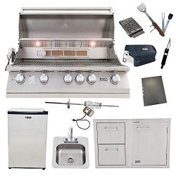 Lion 40-Inch Natural Gas Grill L90000 with Refrigerator and Door and Drawer Combo and Drop-in Si ...