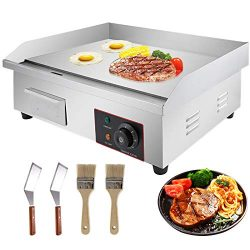VBENLEM 22″ Electric Countertop Griddle Grill 110V 3000W Non-Stick Commercial Restaurant G ...