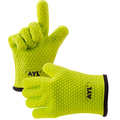 AYL Silicone Cooking Gloves – Heat Resistant Oven Mitt for Grilling, BBQ, Kitchen –  ...