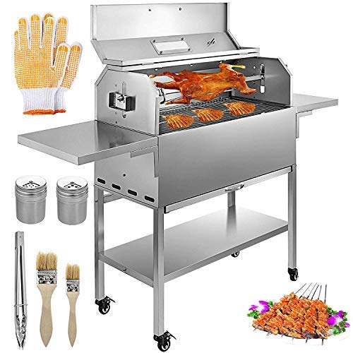 VBENLEM BBQ Charcoal Grill 25W Heavy Duty Charcoal Barbeque Grill Stainless Removable 4 RPM Equi ...