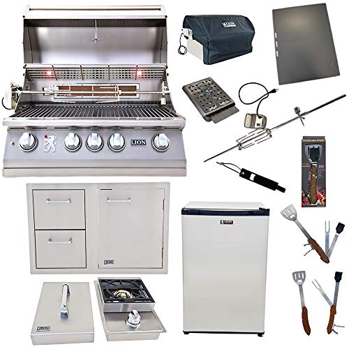 Lion Premium Grills 32-Inch Natural Gas Grill L75000 with Single Side Burner, Eco Friendly Refri ...