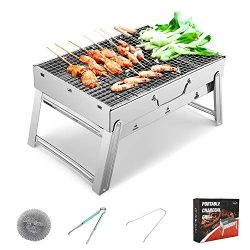 Sunkorto 15.4×10.6×8 Inch Folded Charcoal BBQ Grill Set, Stainless Steel Portable Fold ...