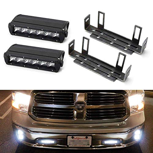 iJDMTOY Lower Bumper LED Light Bar Kit Compatible With 2011-18 Dodge RAM 1500, Includes (2) 30W  ...