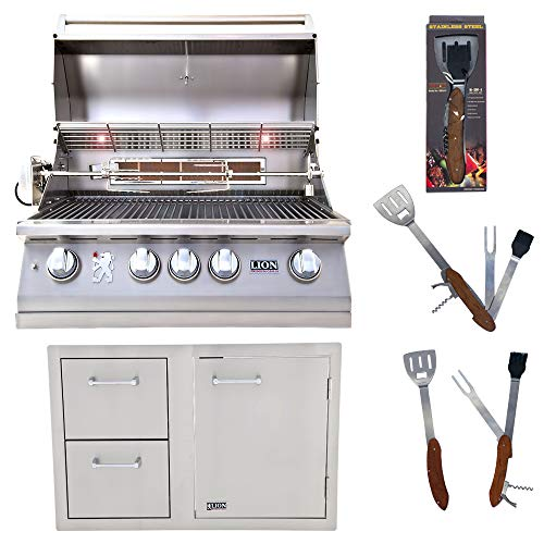 Lion Premium Grills 32-Inch Natural Gas Grill L75000 and Door and Drawer Combo with Towel Rack w ...