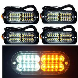 12-24V 20-LED Super Bright Emergency Warning Caution Hazard Construction Waterproof Amber Strobe ...